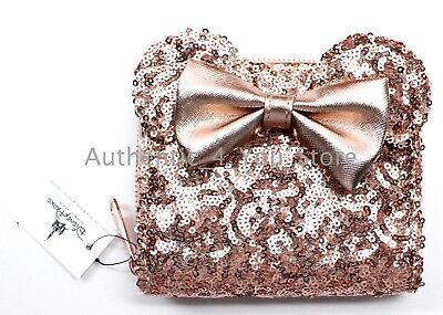 NEW Disney Parks Loungefly Rose Gold Sequined Minnie Mouse Wallet Clutch IN HAND