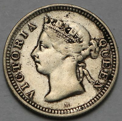 Straits Settlements Silver 5 Cents 1900-H Free Shipping