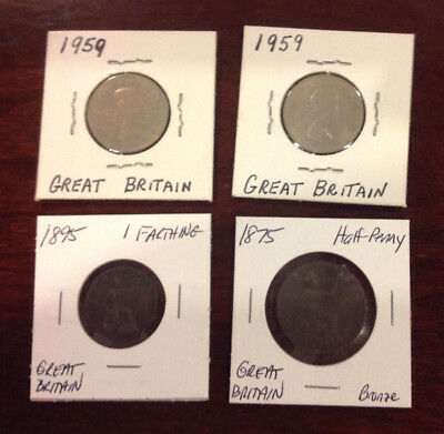 Lot of 4 Great Britain coins: farthing, half penny, shilling. 1875, 1895, 1959