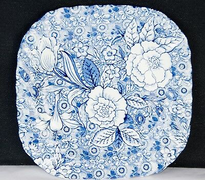 Tiffany & Co Johnson Brothers ENGLAND Liberty Plates SET of 2 Blue Floral Roses