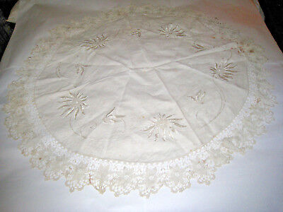 Antique Linen Table Top Cloth Cover Round Embroidered White