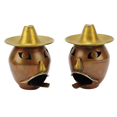 Antique Pair Mexican Mixed Metal Face Ashtrays