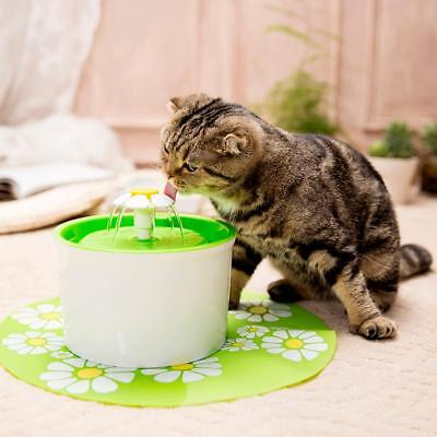 Electronic Automatic Pet Cat Dog Water Drinking Flower Fountain Bowl Dish Filter