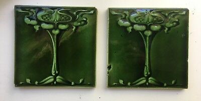 Set of 2 Emerald Green Antique Vintage England Art Nouveau Tiles