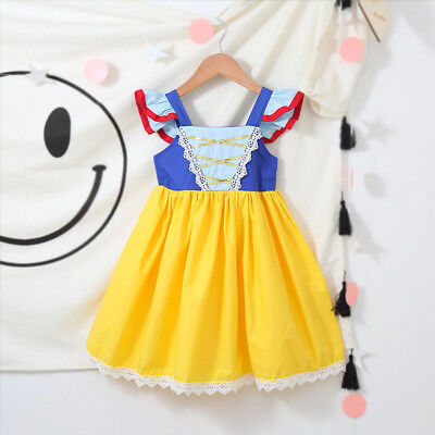 Princess Snow White Cosplay Party Costume Fancy Dress Sundress for Baby Kid Girl