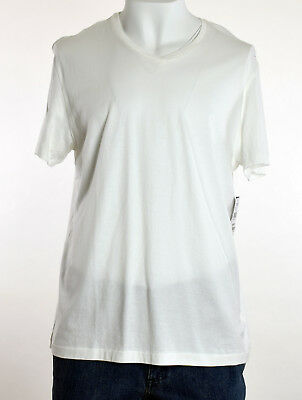 The Men's Store Bloomingdales White Solid Cotton V-Neck Tee T-Shirt XL