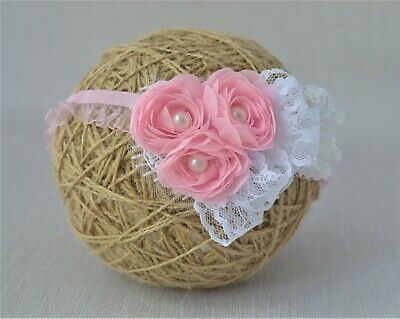 White baby bow headband hair band for baptism christening tulle bow with flower