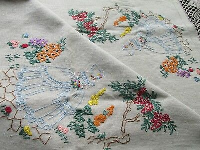 Vintage Hand Embroidered Tablecloth-Lovely Crinoline Ladies & Floral Arches
