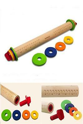 Wooden Dough Rolling Pin Adjustable Fondant Craft Bakeware Non Stick Rolling