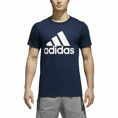 [CW9766] Mens ADIDAS BOS Fill Carded Big Logo Graphic Tee Shirt - Navy