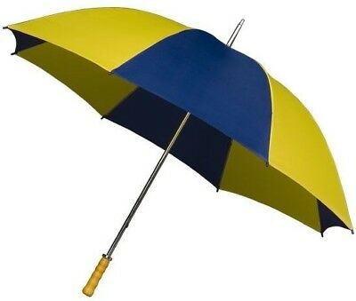 Golf Umbrella with Big Canopy in Blue & Yellow - Double Ribs and Wooden Handle