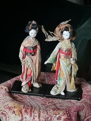 """Pair 8"""" Japanese Geisha Dolls glass eyes brush stokes at hairline on Stands"""