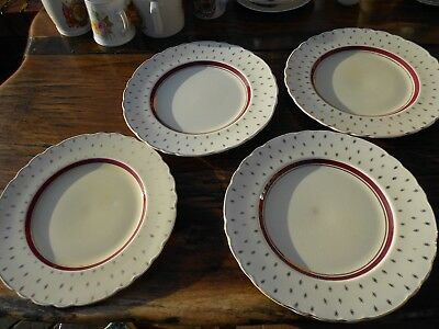 "Vintage A J Wilkinson Royal Staffordshire Pottery Honeyglaze 4 x 10"" Plates"