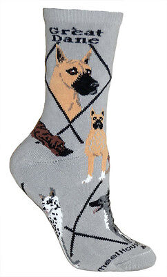 Great Dane Dog Breed Gray Lightweight Stretch Cotton Adult Socks