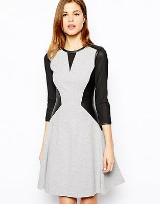 Karen Millen Fitted Dress in Jersey and Faux Leather Size 16 NEW
