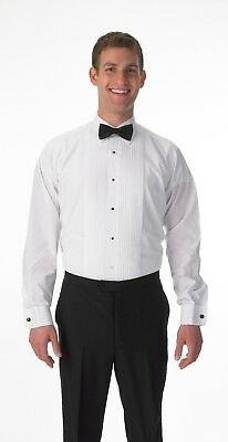 NEW Premium Men's Tuxedo Long Sleeve Shirt Laydown Collar, Bonus Black Bow Tie