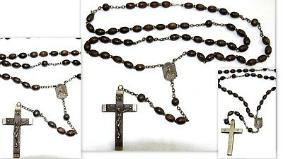 Vintage Rosary Brown Wooden Beads  & Brass Tone Rosary    # C9