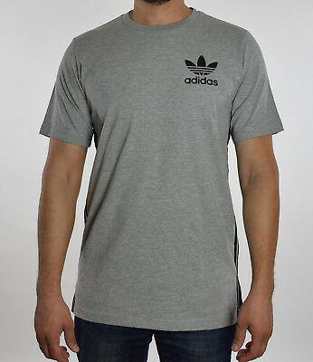 ADIDAS MENS GRAY Heather Crewneck Elongated Tee T Shirt M