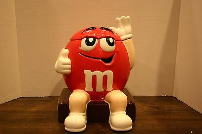 VTG  M&M Candy RED Ceramic Cookie Jar Container BENJAMIN & MEDWIN I'M BAD (BAAD)