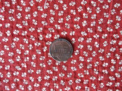 ~Back In Time Textiles~Primitve Antique 1880-90 red calico fabric 1 yard