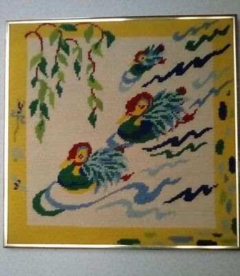 """NEEDLEPOINT SWANS SWIMMING, HANDMADE, 14"""" INCHES x 14 """" OLDER, NICE GOLD FRAME"""