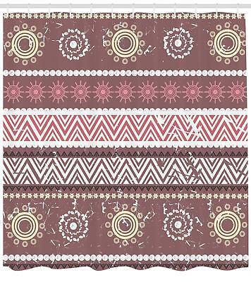 Zambia Pattern Shower Curtain Fabric Decor Set With Hooks 4 Sizes Ambesonne