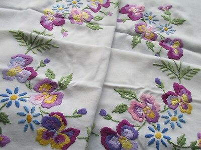 Vintage Hand Embroidered Table Cloth-PRETTY PANSY FLOWERS