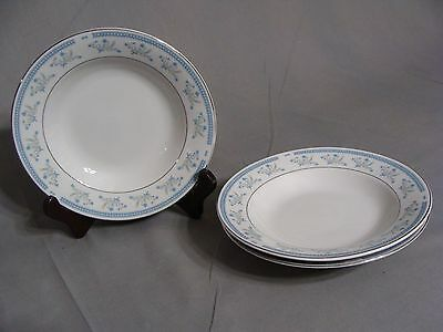 3 CAC Ceramic Fine China Soup Bowls W/Blue & Yellow Flowers