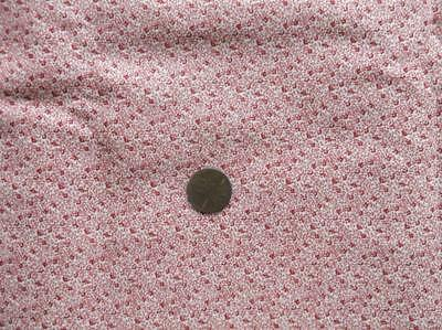 """~Back In Time Textiles~Antique 1890-1910 Double pink calico fabric 88"""" x 9"""""""