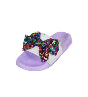 eea91f1e4387 JoJo Siwa Lilac Purple Rainbow Sequin Bow 🌈 Slides Sandals Shoes Girls  Size 2