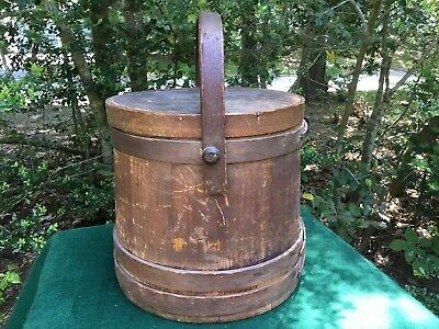Antique Wooden Farmhouse Firkin Circa 1870-1880 Folk Art Primitive Sugar Bucket