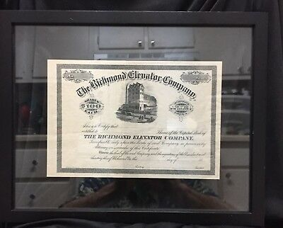 1880's Unissued Richmond Elevator Company Stock Certificate