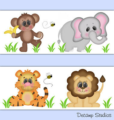 Safari Animal Wallpaper Border Wall Art Decal Baby Boy Nursery Jungle Stickers