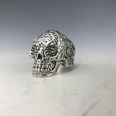 Chinese Tibetan Silver  Hand-Carved Skulls Ring