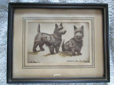 Vintage Scotties Framed Print 'Waiting For Dinner'