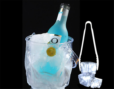 2-3Acrylic Plastic Wine Ice Bucket Beer Champagne Beverage Cooler With Ice Tongs