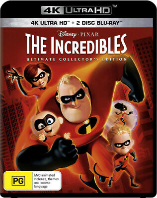 The Incredibles (4K Blu-ray/Blu-ray/Blu-ray Bonus Disc  - BLU-RAY - NEW Region B