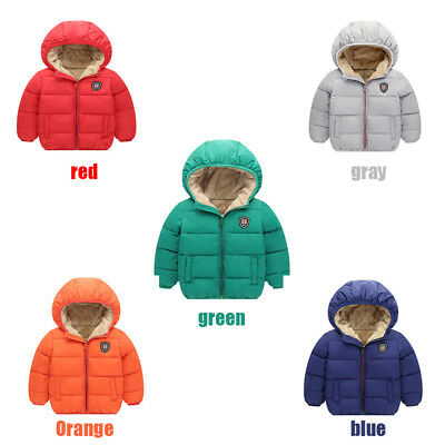 Winter Baby Kids Boys Girls Long Sleeve Hooded Jacket Warm Coat Outwear Clothes