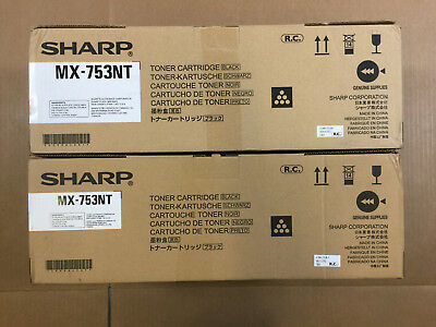 2pk OEM Sharp MX-753NT Black Toner Cartridges M623U M753N M75 Same Day Shipping