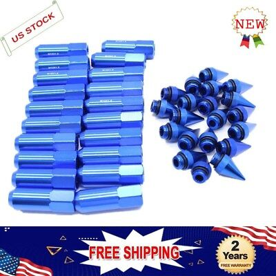 Blue M12X1.5 Cap Spiked Extended Tuner Wheels Rims Lug Nuts 60mm Aluminum 20pcs