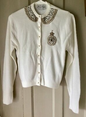 White Bead Long Sleeve Park Storyk Soft Cardigan Sweater Size Small