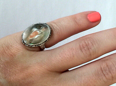 Vintage Abalone Shell Sterling Silver 925 Lovely Ladies Ring Small Sz 3