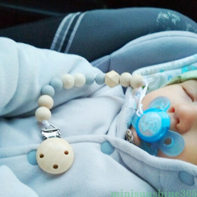 Baby Pacifier Clip Chain Holder Wood Silicone Beads Nipple Dummy Chew Toy Gift