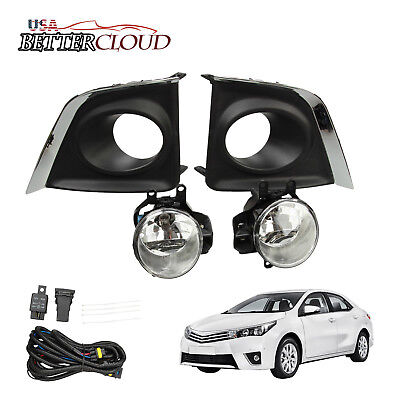 For 2014-2016 Toyota Corolla Clear Bumper Fog Lights Lamps Switch+Bracket+Wiring