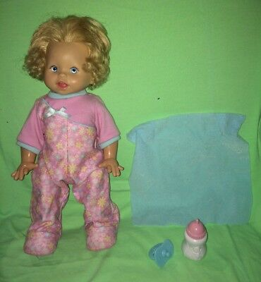 """2008 Fisher Price Little Mommy Doll---Walk & Giggle Interactive 16"""" Blonde Hair"""