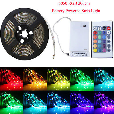 619b16025ef3 50-200cm Battery Powered LED Strip Light 5050 RGB Waterproof Multicolor  Remote