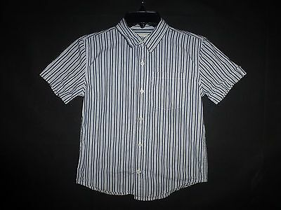 Old Navy Boys Blue Striped Button Down Short Sleeve Shirt 5/6