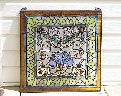 "24"" x 24"" Colorful Handcrafted stained glass Jeweled window panel !"