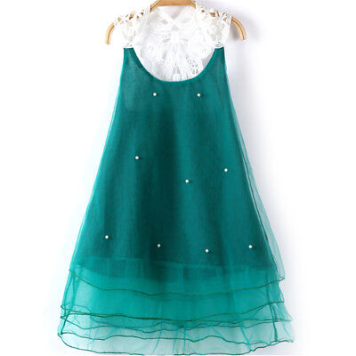 Girls Green Pearl Lace Flower Casual Dress Sundress Kids Summer Party ClothingSR