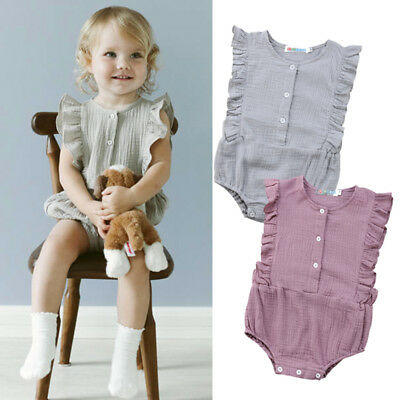 Cotton Newborn Baby Girls Ruffle Romper Jumpsuit Bodysuit Outfits Clothes luz